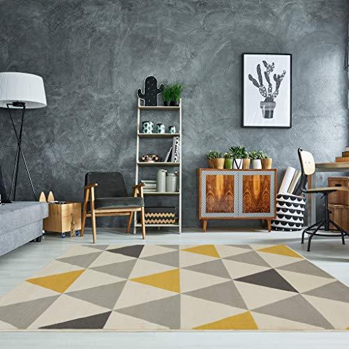 The Rug House Milan Moderner Teppich mit Harlekin Dreiecksmuster für Das  Wohnzimmer in Ocker-, Gelb-, Grau- und Beigefarbtönen 80cm x 150cm