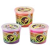 COM-FOUR® 3er Set Hüpfknete in Dose für Kinder und Erwachsene in Neon-Farben (Pink/Orange/Lila)