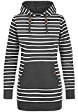 BLEND SHE Cloey Damen Kapuzenpullover Hoodie Long Sweatshirt mit Fleece-Innenseite Longline Sweat-Kleid aus hochwertiger Baumwollmischung, Größe:L, Farbe:Charcoal (70818)