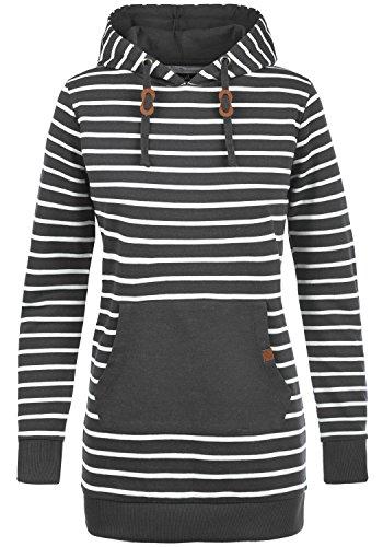 Blend SHE Cloey Damen Kapuzenpullover Hoodie Long Sweatshirt mit Fleece-Innenseite Longline Sweat-Kleid aus hochwertiger Baumwollmischung, Größe:XS, Farbe:Charcoal (70818) - Fleece Thermo-pullover