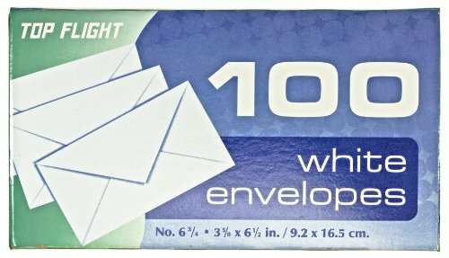 Top Flight Boxed Envelopes, 3.625 x 6.5 Inches, White, 100 Envelopes per Box (6900311) by Top Flight