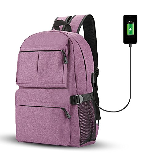 Fastar zaino per computer portatile con porta USB di ricarica, unisex grande capacità College zaini scuola computer zaino per uomini e donne, Purple