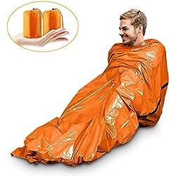 Saco de Emergencia Bivvy Albergue Saco de Dormir Supervivencia Impermeable Manta Hoja de Refugio Aislamiento Térmico Exterior Brillante Naranja Fácil de Localizar Portátil, Pack x 2 uds