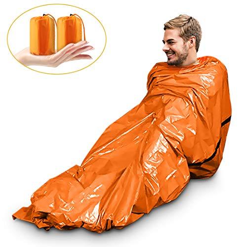 Magicfun Paquet de 2 Sac de Couchage de Survie - Couverture de Survie d'Urgence - Isolation Thermique – Couleur Orange Vif extérieur, Doublure réfléchissante intérieur