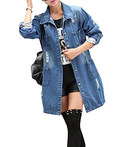 Minetom Damen Jeans Denim Jacke Blouson Übergangsjacke Mantel Outwear Trenchcoat Frühling Lange Cut Out OversizeJacke Jacken Blau DE 38
