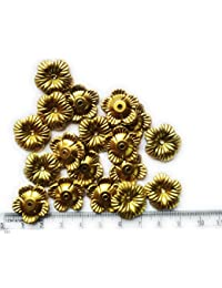 Matte Gold Finish Flower Beads For Jewellery Making, Craft Works, Pack Of 100 Nos