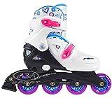 Nils Inlineskates verstellbare Inliner Kinderinliner Inlineskates für alle Skates Inlineskating Inline Skate NJ0321A (Weiß, 31-35)