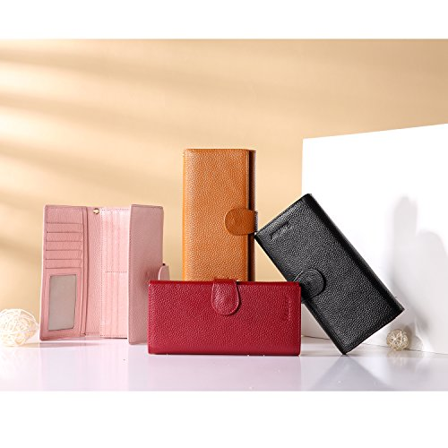 Geldbörse Damen Leder Rfid Geldbörse Brieftasche Lang Handy Geldbeutel Frauen Rosa - 7