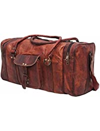 Shiv Globle Leather 24 Inch Duffel Travel Gym Sports Overnight Weekend  Leather Bag 738dac6853149