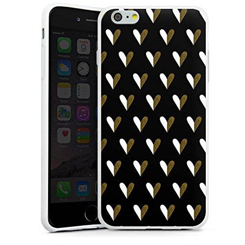Apple iPhone X Silikon Hülle Case Schutzhülle Herzen Gold Muster Silikon Case weiß