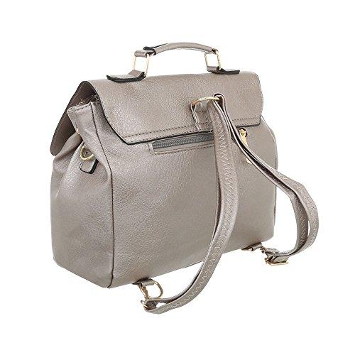 iTal-dEsiGn Damentasche Kleine Rucksack Used Optik Schultertasche Kunstleder TA-C569 Grau Silber