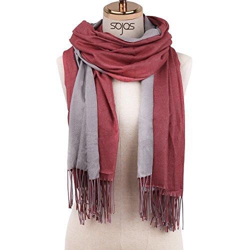 SOJOS Beidseitig Farbig Reversible Kaschmir Wolle Damen Schal Schals Poncho SC302 Weinrot Grau (Damen-pullover Reversible)
