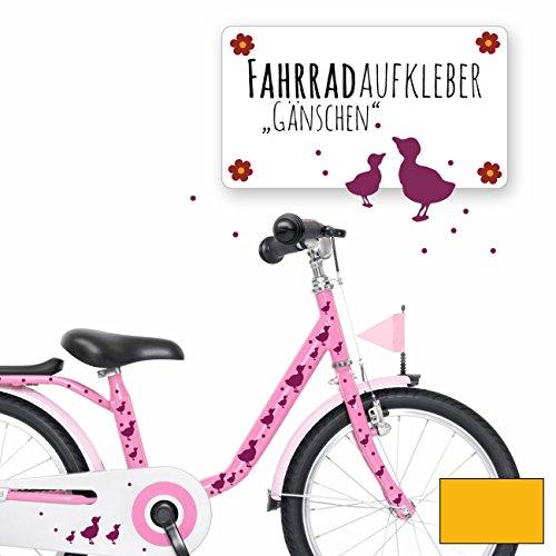 ilka parey wandtattoo-welt® Fahrradaufkleber Fahrradsticker Aufkleber Sticker Fahrraddeko Gänse Entchen mit Punkten M1889 - ausgewählte Farbe: *sonnengelb* - Ente Frame