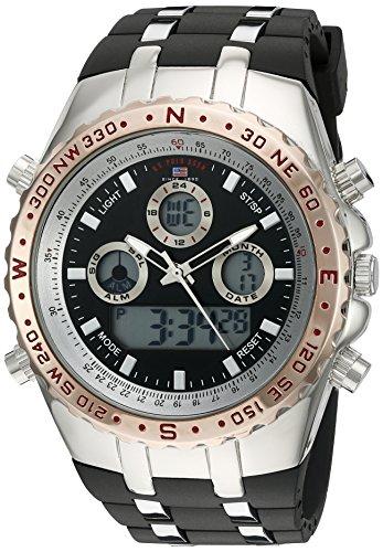 U.S. Polo Assn. Sport Men s Quartz Metal and Rubber Casual Watch,  Color Black bf4a816983b6