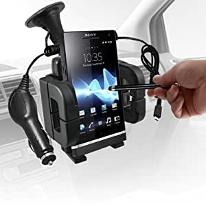 ONX3 Sony Xperia S LT26i HD 3 IN 1 - Autohalter KFZ Halter + Micro USB Car Charger + Black High Kapazitive Stylus Pen