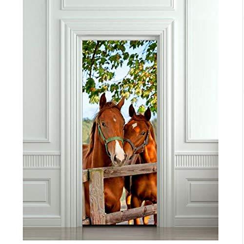 WFYY DIY 3D Wandaufkleber Wandbild Home Decor Pferde Stall Scheune Abnehmbare Durch Aufkleber Decole 77 * 200 cm