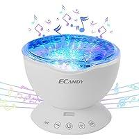 Ecandy Proyector LED de Olas del Mar con control remoto 12 LED y 7 colores de lámpara de noche con mini reproductor de música incorporado para la sala de estar y el dormitorio(blanco-música)