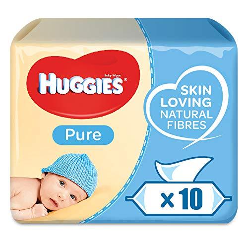 Huggies Pure, sensitive Baby-Feuchttücher, 99{600db46f6916da578d737420fee96a7255b6bed954c04f15e5ecccd678af1139} Wasser, parfümfrei, 10er Pack (10 x 56 Stück)