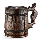 Boccale da birra in legno - in quercia - fatto a mano con sorprendente maestria e materiali di qualitŕ - foderato in metallo - Resistente - Robusto - Di Lunga Durata