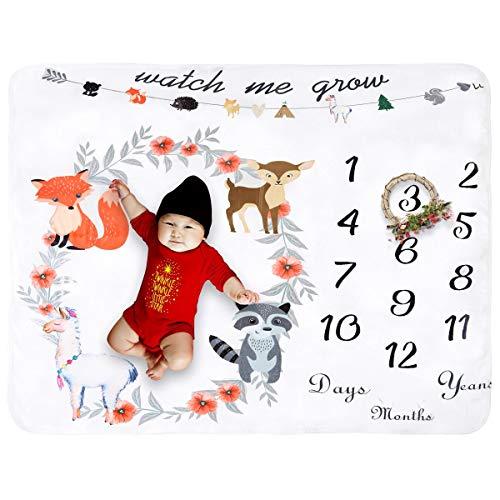Jinxuny Baby-Meilenstein-Decke, extra groß, Fotohintergrund, dick, Requisite für Einzelbetten und Zwillinge Garland(43inch X 59inch)