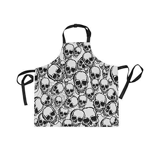XiangHeFu - Delantal con 2 Bolsillos, diseño de Calavera Blanca, 27,5 x 29 Pulgadas, Correa Ajustable para el Cuello para Hombres y Mujeres, Cocina, Cocina, Chef