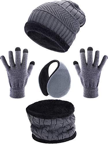 guanti bambino Tatuo 4 Pezzi Sci Caldo Set Comprende Inverno Cappello Sciarpa più Caldo Guanti Paraorecchie Esterni Invernali per Adulti Bambini