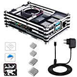 Bruphny Boitier pour Raspberry Pi 4, Boîtier avec Ventilateur,Dissipateurs 4 Pièces, Bloc d'alimentation USB-C 5V 3A...