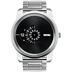 Fashion Large dial design watch dial pointer watch men's wristwatch 30m waterproof watch (Silver)