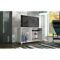 حامل تلفزيوني من بي ار في موفيز مع ثلاثة رفوف لتلفاز بحجم 42 بوصة ابيض