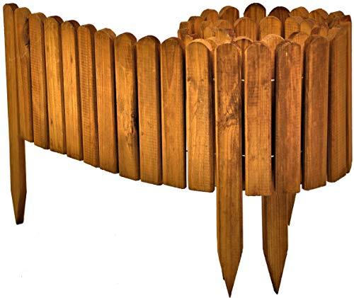 floranica® bordura rollborder recinto in legno, srotolatile della 203 cm (accorciato), dei paletti, come recinto aiuole, giardini, steccato, palizzata - impregnato, colore:marrone, altezza:40 cm