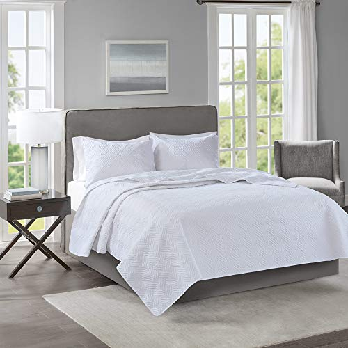 Spa-quilt (510 Design Lucca 3 Piece Reversible Embossed Quilt Set Coverlet Bedding Full/Queen Size White)