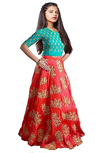 TILUDI Girl\'s Silk Lehenga Choli (EW2014_K_LEHENGA CHOLI_Orange_Firozi_8-12 Year)