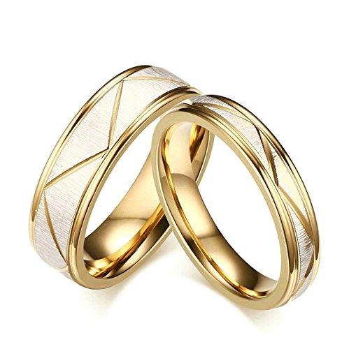 Jiedeng Schmuck Unisex Ringe aus Edelstahl Ring mit Dreieck Muster Freundschaftsringe Partnerringe Ehering Trauringe für Herren-Ring Gold Größe 67 (21.3) Thomas Duschvorhang