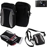 K-S-Trade Für Panasonic Lumix DMC-LX15 Gürtel Tasche Umhänge Tasche Fototasche Schutz Hülle für Panasonic Lumix DMC-LX15, schwarz-grau + Extrafach mit Platz für Powerbank, Festplatte etc. | C