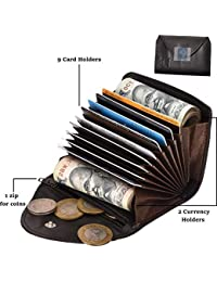 Hebbuli RFID Leather Credit Card Holder Wallet With 9 Card Slots 2 Money Pockets One Coin Zipper 2 Sim Slots Ultra...