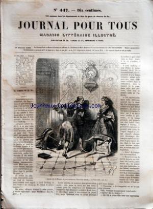 JOURNAL POUR TOUS [No 447] du 11/01/1862 - ROMANS ET NOUVELLES - LE TAMBOUR DE LA 32E PAR ERNEST CAPENDU - LA MOUETTE PAR FERNAN CABALLERO - HORTICULTURE - LA CINERAIRE - LE COREOPSIS ET L'ANTIRRHINUM - LES PLANTES INDUSTRIELLES - LE COTON PAR MAURY - CELEBRITES CONTEMPORAINES - LE R. P. LACORDAIRE PAR FONTAINE.