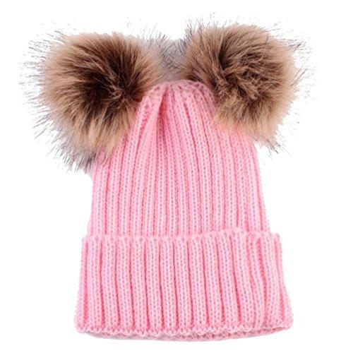 Cappello del bambino , feixiang moda carino neonato mantenere caldo cappelli invernali maglia orlatura di lana cappello-- lana di maglia (rosa)
