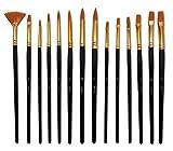 Yohino Multi Purpose Ensemble de pinceaux, utilisation pour acrylique, huile, aquarelle, 14 Brush Set