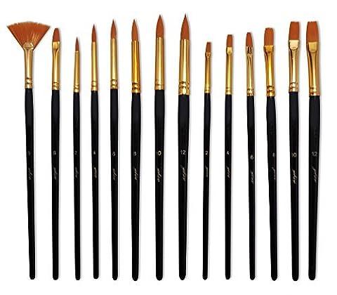 Yohino Multi Purpose Ensemble de pinceaux, utilisation pour acrylique, huile, aquarelle, 14 Brush