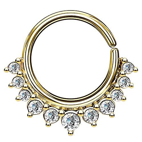 Piercingfaktor Piercing Continuous Vintage Kristall Ring Ohr Nase Lippe Brust Intim Septum Helix Hufeisen Horseshoe Gold