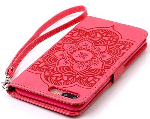 "[Coque Iphone 7 silicone] Nnopbeclik Mode Fine Folio Wallet/Portefeuille en Bonne Qualité PU Cuir Housse pour Apple Iphone 7 Coque silicone (4.7 Pouce) ""Wind Chime Style"" de Gaufrage Motif + Stand Sup rouge"