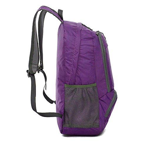 FakeFace Rucksack Faltrucksack Wanderrucksack Reiserucksack Daypack Picknickrucksäcke Wasserdicht Tasche Tragetasche für Outdoor Lila