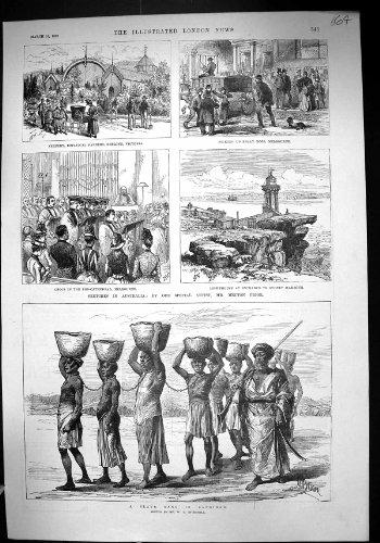 Australien-Gärten Geelong-Leuchtturm-Sydney-Sklaven-Gruppe 1889 Sansibar Afrika - Afrika Antique Print