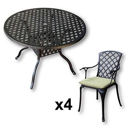 Lazy Susan - LISA 106 cm Runder Gartentisch mit 4 Stühlen - Gartenmöbel Set aus Metall, Antik Bronze (EMMA Stühle, Grüne Kissen) (Wasser-kissen Für Grillen)