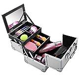 Meykey Malette Maquillage Professionnel 20 x 15,5 x 15,5 cm, Beauty Case avec un Miroir, 20 x 15,5 x 15,5 cm, Argent et Noir