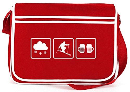 Shirtstreet24, Skier Apres Ski, Borsa A Tracolla Messenger Bag Retro Sport Invernali Rossa