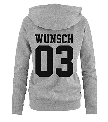 Comedy Shirts - WUNSCH - Damen Hoodie - Grau / Schwarz Gr. (Disney Sexy Prince)