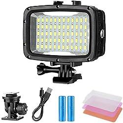 Neewer Lampe de Plongée sous-Marine 60 LED Régalable LED Lumière Vidéo Etanche à 40m pour GoPro Hero 6 5 4 Hero Session Canon Nikon Pentax et Autres Caméras Action et DSLR (Batterie Non Fournie)