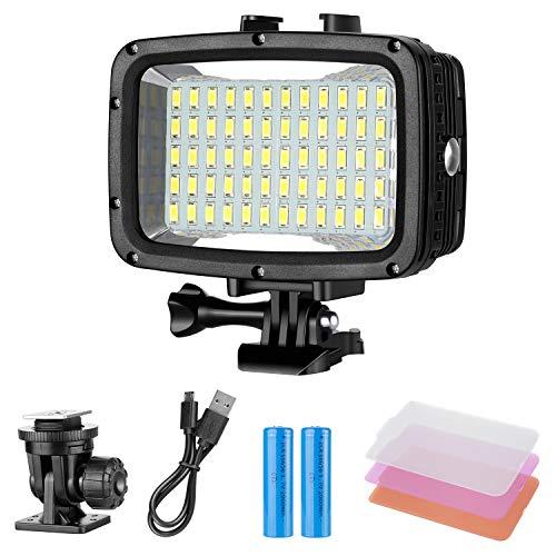 Neewer Unterwater Licht Tauchlicht 60 LED Dimmbare wasserdichte LED-Videoleuchte 131 Fuss / 40m für GoPro Hero 6 5 4 Hero Session und DSLR-Kameras (Batterie ist im Lieferumfang enthalten) (Licht Tauchen)