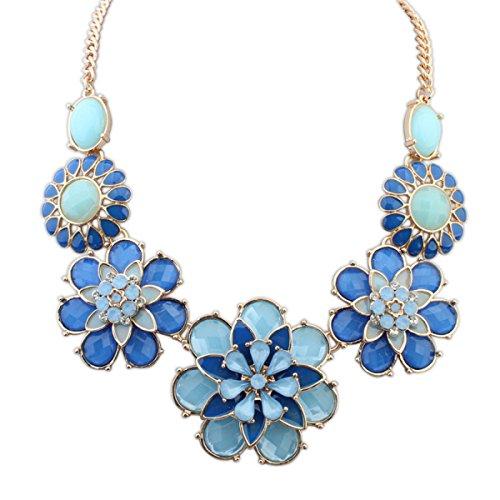 Collier élégant Et élégant De Fleur De Diamant blue
